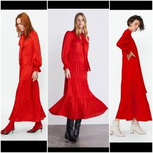 Zara red ruffle long sleeve midi bloggers fave